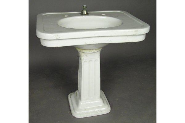 1920 Pedestal Sink : 554: Porcelain pedestal sink circa 1920. Oversized squa : Lot 554