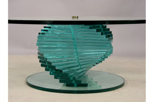 444 Spiral Glass Coffee Table Modern Round Lot 444