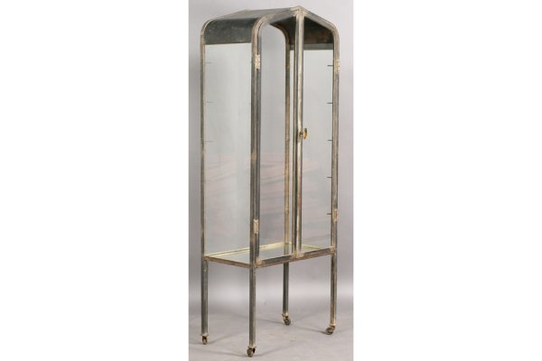 Art Deco Metal Vitrine With Peaked Arched Top Over Two Glass Doors