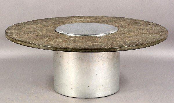217 Modern Slate Top Round Coffee Table Metal Base Lot 217