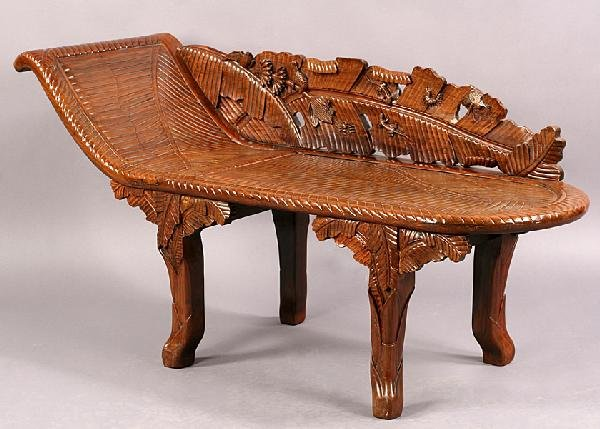 574 carved wood asian chaise lounge palm leaf animal for Carved wooden chaise