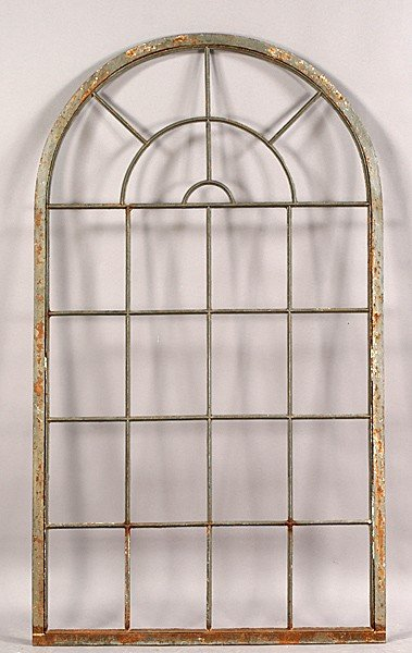 525 vintage iron arched top palladian window frame lot 525 for Arch top windows