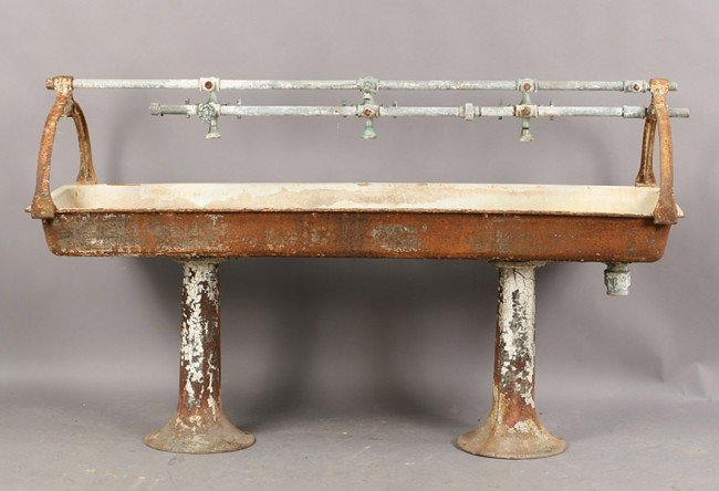 Vintage Trough Sink : vintage cast iron multi faucet trough style sink having an enameled ...