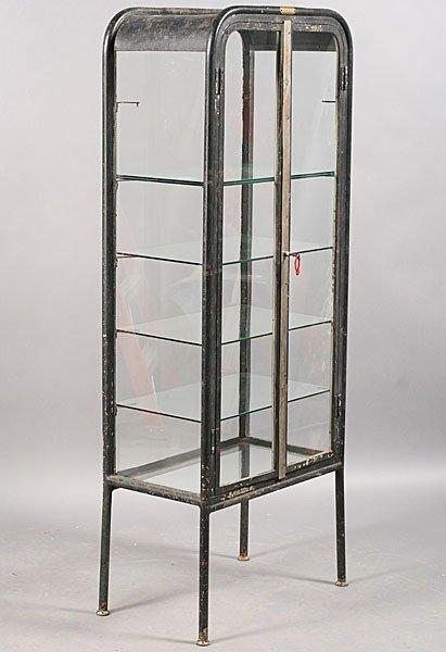 246 vintage industrial metal vitrine 2 glass doors lot 246. Black Bedroom Furniture Sets. Home Design Ideas