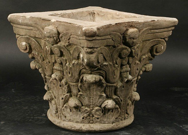 Stone Column Base : Cast stone corinthian column capital table base lot