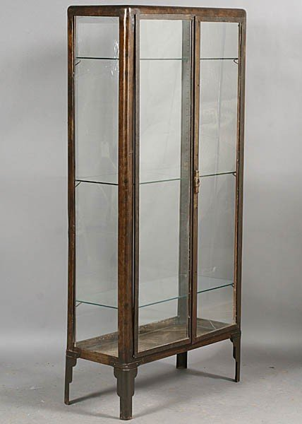 175 vintage metal vitrine glass doors lot 175. Black Bedroom Furniture Sets. Home Design Ideas