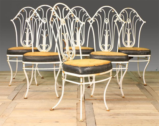 99 set 6 vintage wrought iron garden chairs lot 99
