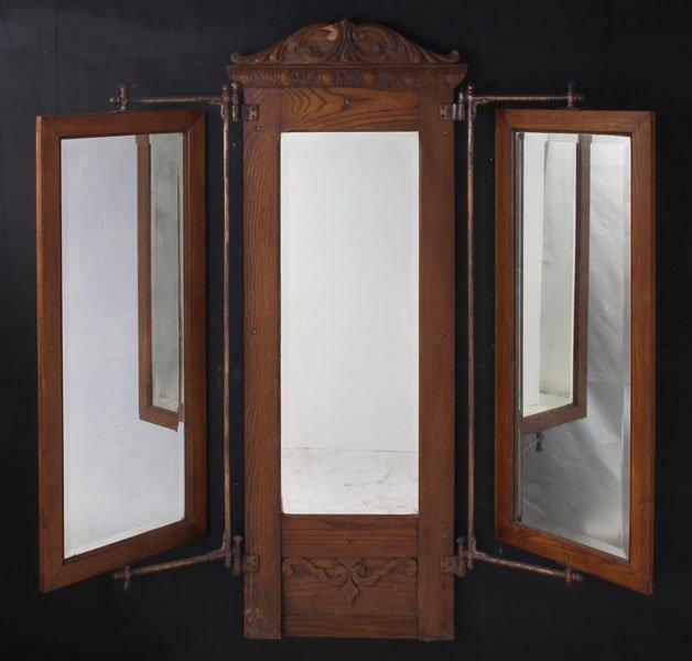 141 Oak 3 Way Haberdashery Hanging Wall Mirror Lot 141