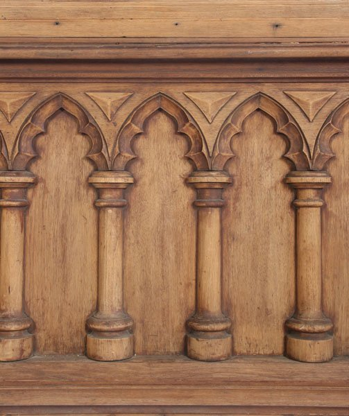 528 Antique Gothic Style Carved Wood Wainscoting Lot 528