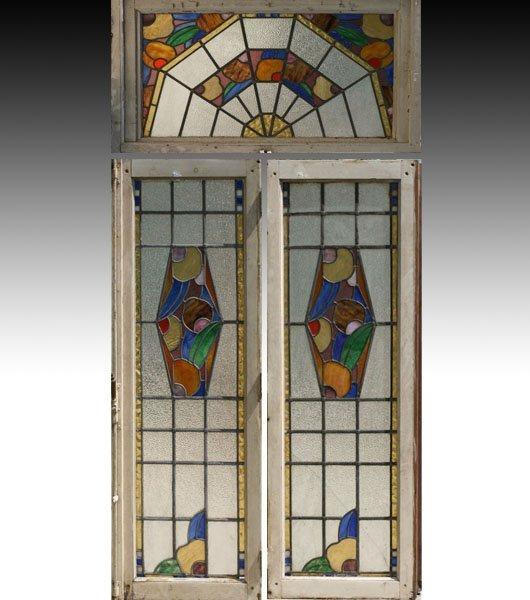 595 pr art deco stained glass window transom lot 595 for Art deco glass windows