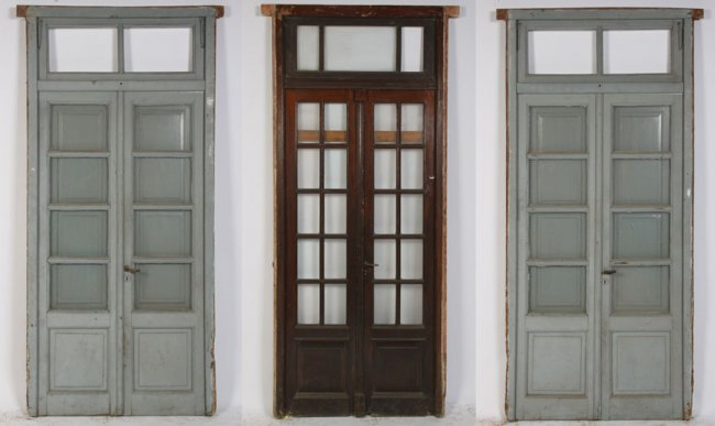 661 3 pairs french doors mullioned glass windows lot 661 for French doors without windows