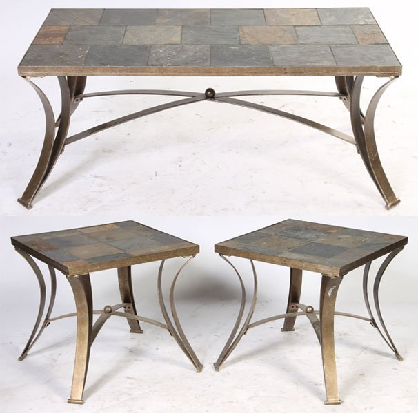 124 set 3 slate top iron tables coffee 2 end lot 124 for Iron coffee table set