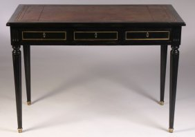french writing desk leather top 3 drawers lot 638. Black Bedroom Furniture Sets. Home Design Ideas