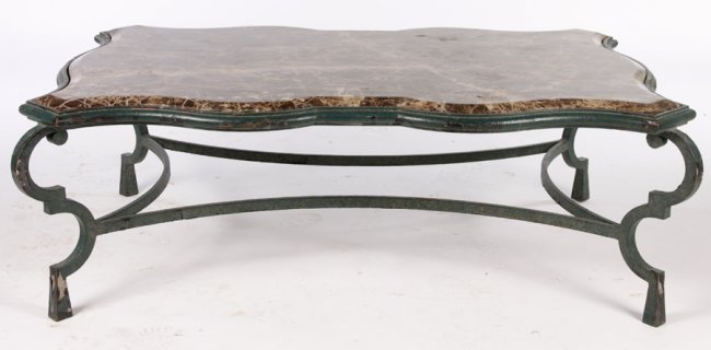 Large wrought iron coffee table marble top lot 600 for Rod iron coffee table