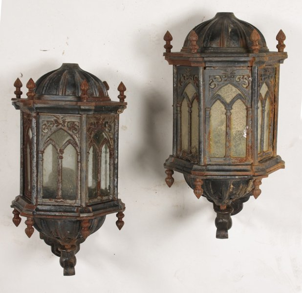 Wall Sconces Gothic : PAIR OF GOTHIC STYLE CAST IRON WALL SCONCES : Lot 579