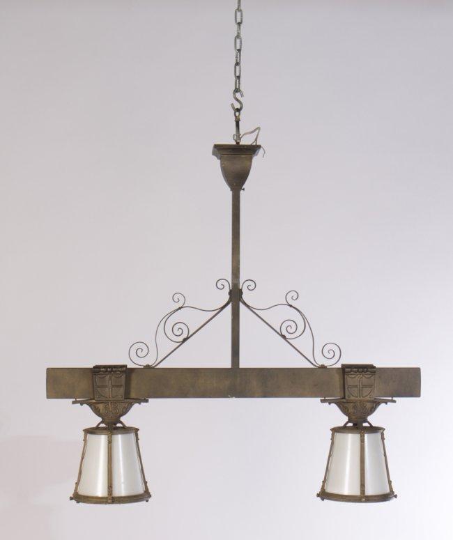 bronze cast metal wrought iron light fixture lot 413. Black Bedroom Furniture Sets. Home Design Ideas