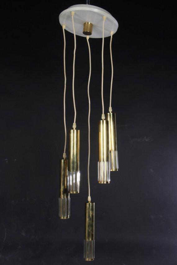 Modern Brass Glass Lighting Fixture 5 Lights 1970 Lot 392