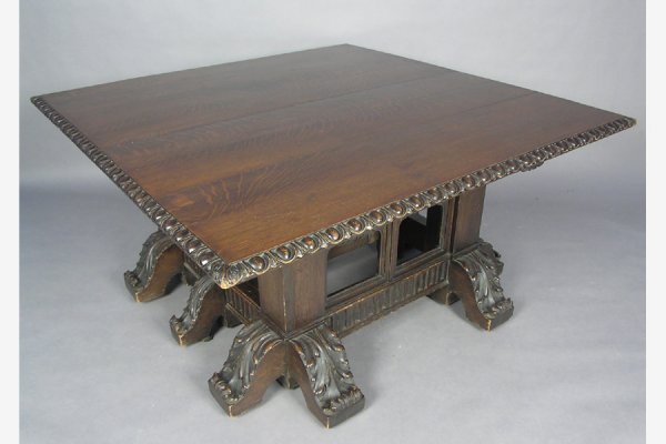 ROSE VALLEY Attr CARVED GOTHIC DINING ROOM TABLE 10