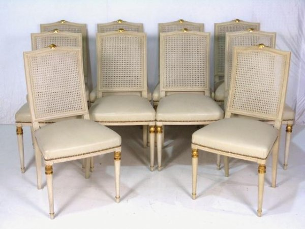 204 10 Jansen Painted Gilt Cane Back Chairs Lot 204