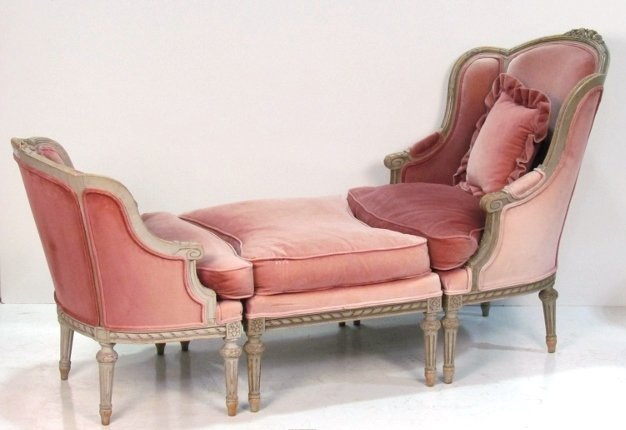 Louis xvi style 3 pc chaise lounge lot 134 for Chaise style louis xvi occasion