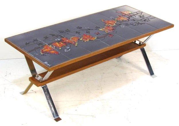 Italian Modern Ceramic Art Tile Coffee Table Lot 3