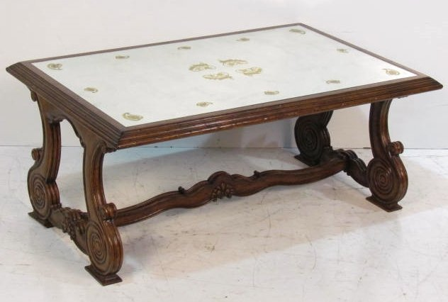 Italian style walnut coffee table w eglomise top lot 597 Tuscan style coffee table