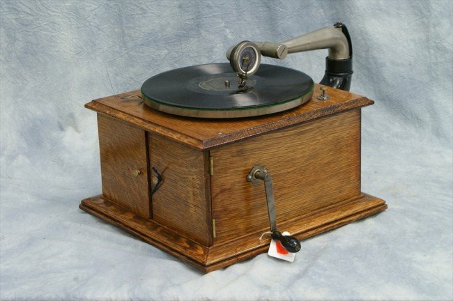 419 Victor Vv Iv Oak Table Model Disc Record Player G