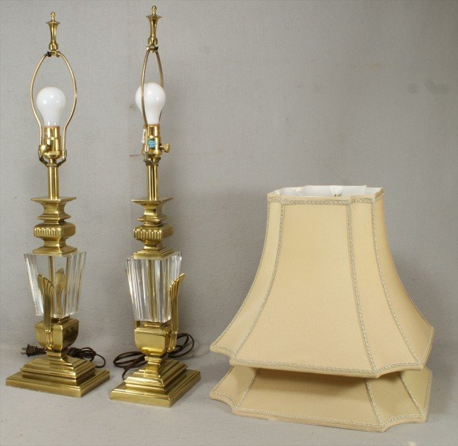123 pr brass and baccarat crystal stiffel table lamps lot 123. Black Bedroom Furniture Sets. Home Design Ideas