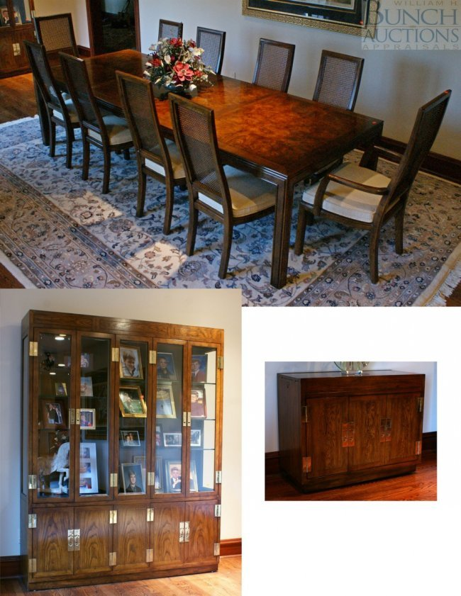 12296B Henredon Asian Style Dining Room Table With 10 Lot 12296B