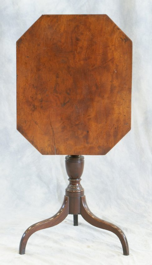 American mahogany federal tilt top candle stand with ar ...
