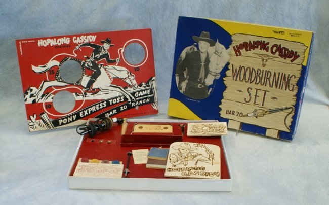 Hopalong cassidy woodburning set by american toy and lot for Furniture of america cassidy