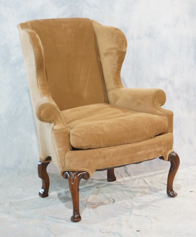 Queen Anne style wing chair coffee color velvet Lot 2640