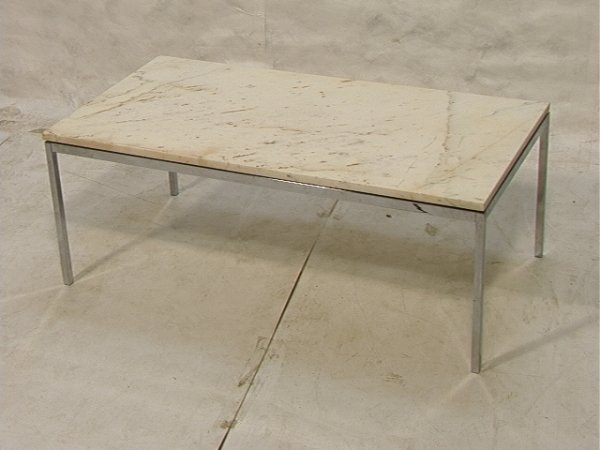 72 florence knoll marble top coffee table chrome f lot 72 for Coffee table 72 inch