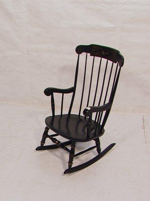 196: Black Ethan Allen Stencil Rocker Rocking Chair. : Lot 196