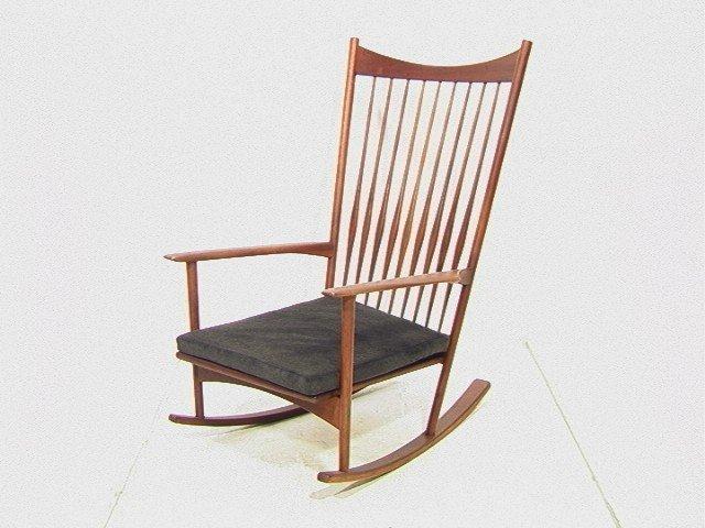 105: Danish Modern High Back Teak Rocker Rocking Chair