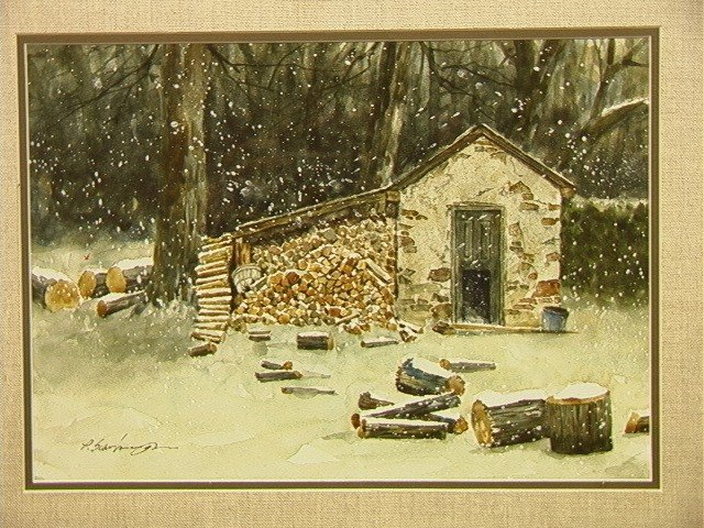 276 P Scarborough Watercolor Painting Log Cabin Sn