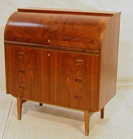 400 danish modern roll top desk teak with bowed top lot 400. Black Bedroom Furniture Sets. Home Design Ideas
