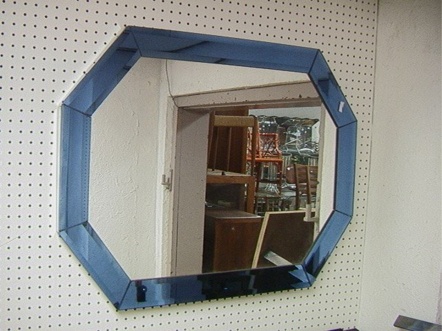 189: Art Deco Inspired Cobalt Blue Wall Mirror. Bevele : Lot 189