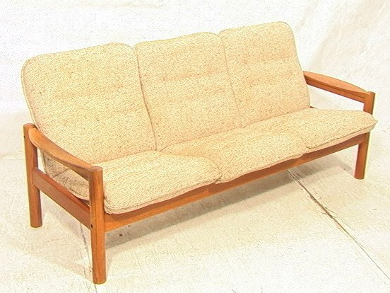 294 danish modern domino teak sofa couch wood arms a lot 294. Black Bedroom Furniture Sets. Home Design Ideas