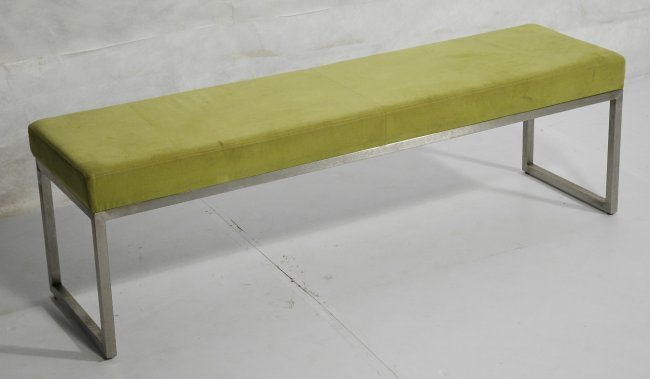 Metal frame upholstered long bench seat lime gre lot 280 Long upholstered bench