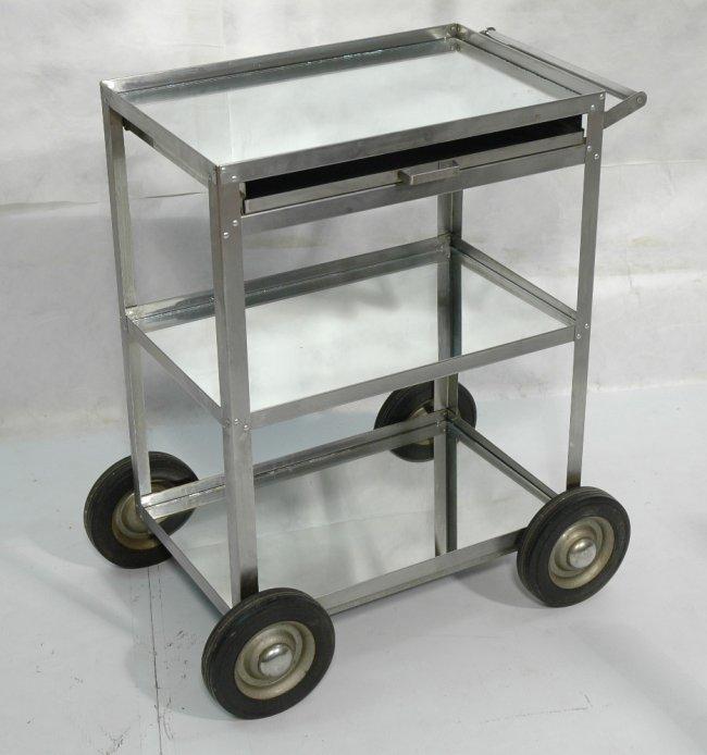 industrial 2 tier rolling cart shelves lined wit lot 469. Black Bedroom Furniture Sets. Home Design Ideas