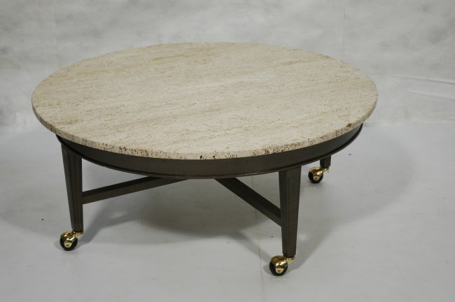 Round Travertine Coffee Table Wood Tapered Legs Lot 227