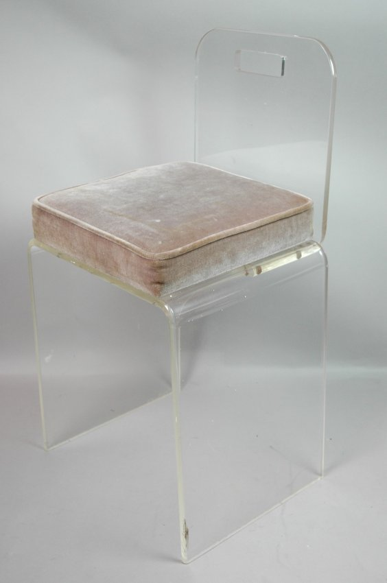 Lucite vanity chair seat cushion seat lot 446 - Acrylic vanity chair ...