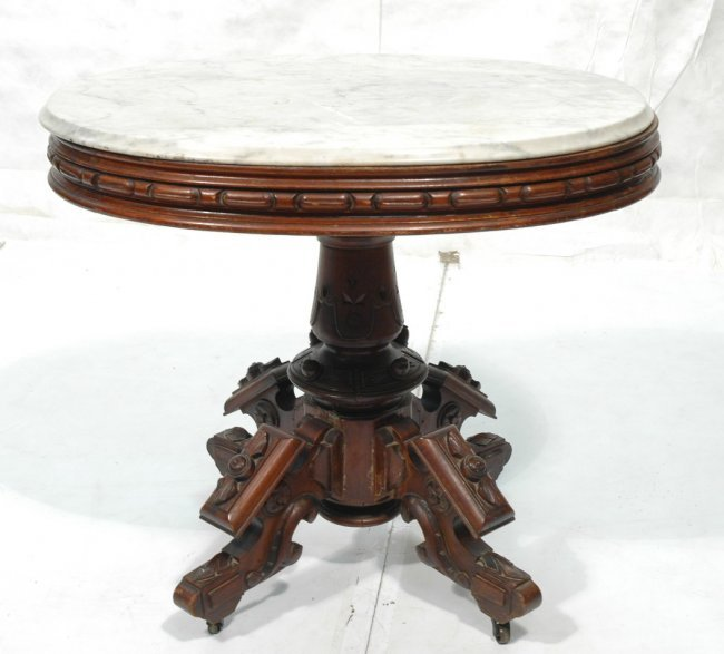 Antique victorian walnut marble top side table lot 52 for 52 table view