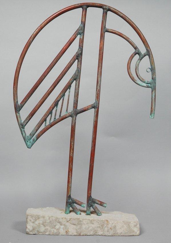 Copper Tubing Figural Sculpture Of Bird Neat Mod Lot 45