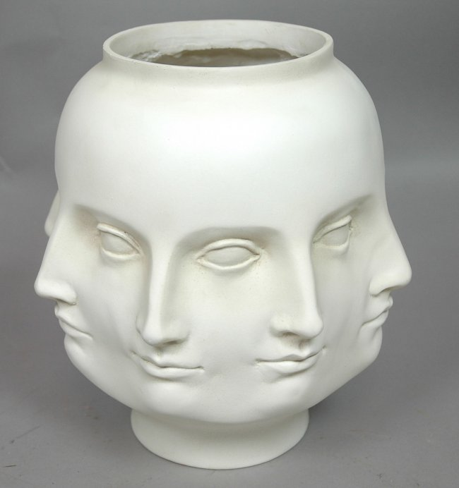 Piero Fornasetti Style Multi Face Vase White Ma Lot 100