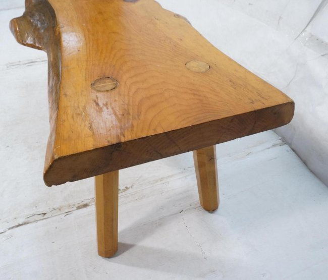 Freeform wood slab coffee cocktail table bench f lot 576 for Cocktail table with 4 benches