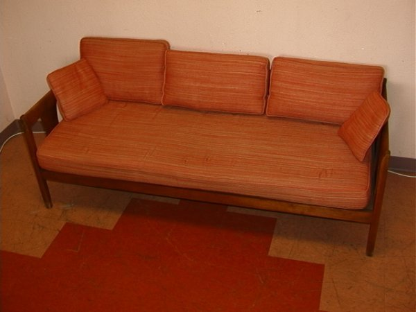 895: Danish Modern Sofa Walnut Loose Cushion Pillows Wa : Lot 895