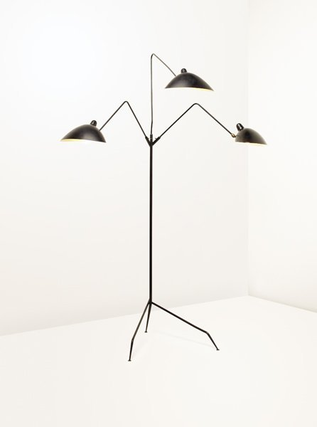 48 serge mouille rare three arm floor lamp ca 1958 lot 48. Black Bedroom Furniture Sets. Home Design Ideas