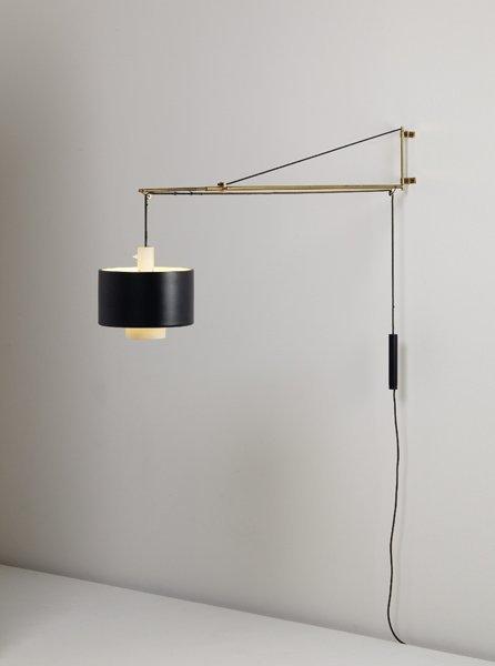 Wall Mounted Adjustable Lamps : 112: GAETANO SCOLARI, Adjustable wall-mounted lamp, ca. : Lot 112